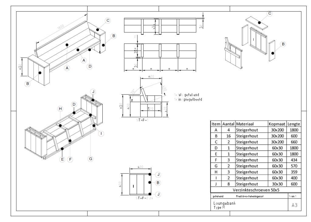 bouwtekening hoekbank