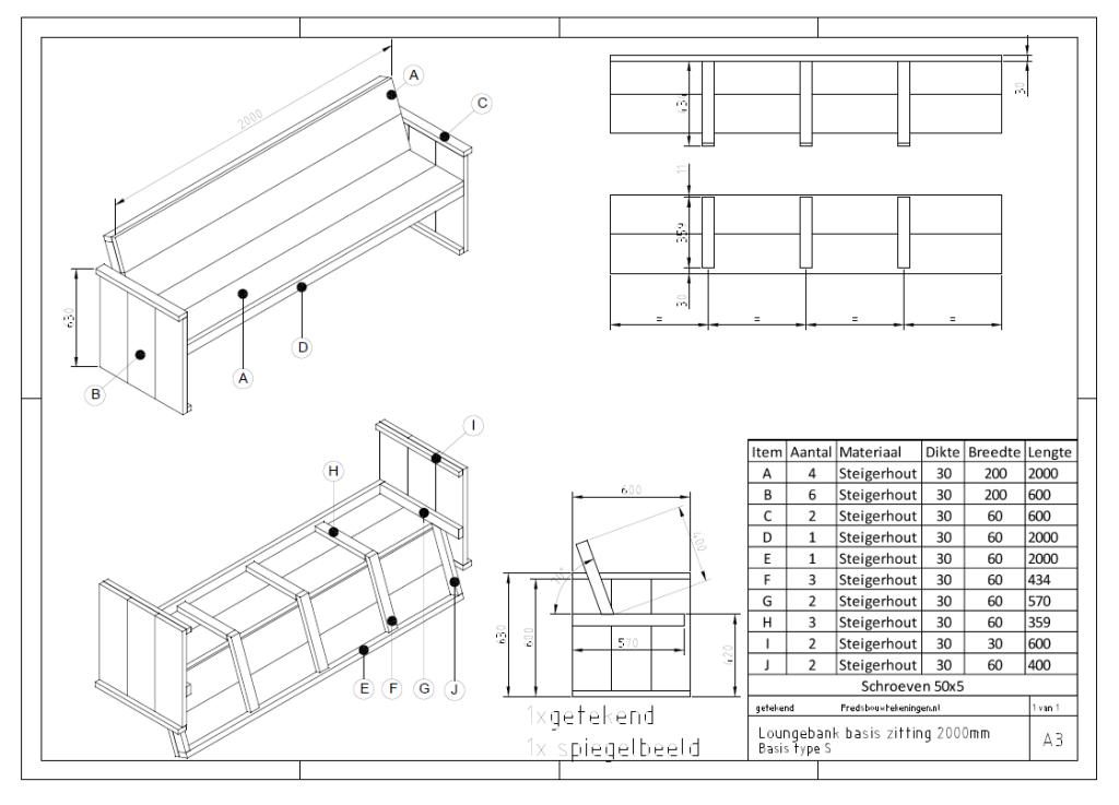 Bouwtekening Tuinbank nodig? Klik voor een bouwtekening!   bouwtekening houten meubels nl