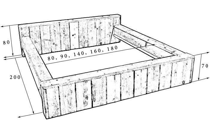 bouwtekening bed steigerhout