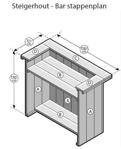 bouwtekening steigerhouten bar