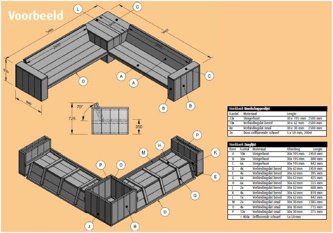 Onwijs Loungebank steigerhout zelf maken? Klik hier! - bouwtekening GB-52